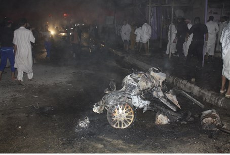 Site of a car bomb attack in Nasiriyah city,