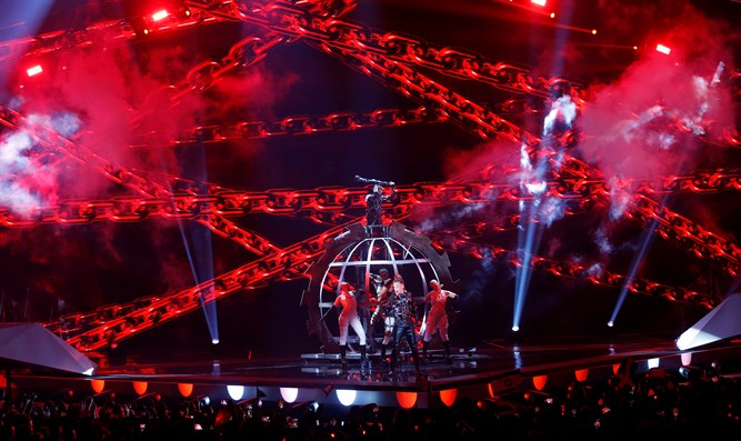 Iceland's Hatari performing in the Grand Final in Tel Aviv, 2019