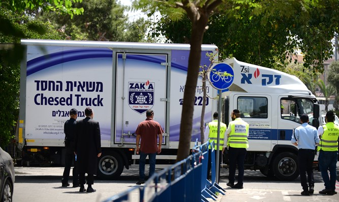 ZAKA truck near site of Meron disaster
