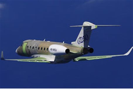 Gulfstream G250 business jet in test flight