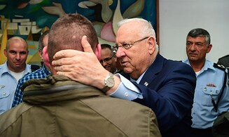 President visits combat soldier wounded last night in Jenin