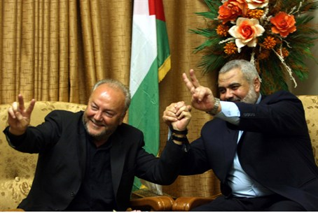 Hamas Prime Minister Ismail Haniyeh meets wit
