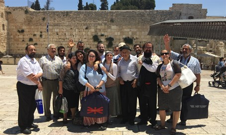 A group of Portuguese Bnei Anousim visit the Kotel on a trip organized by Shavei Israel