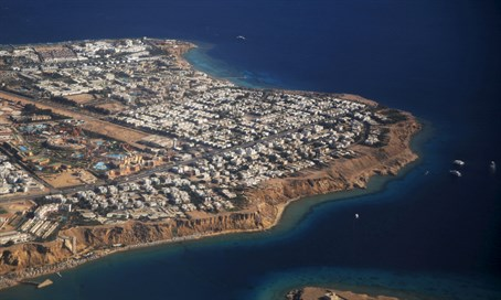 Aerial view of part of the Red Sea coast