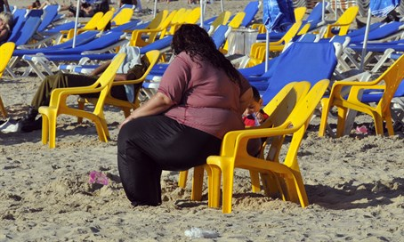 Obese person at Tel Aviv beach