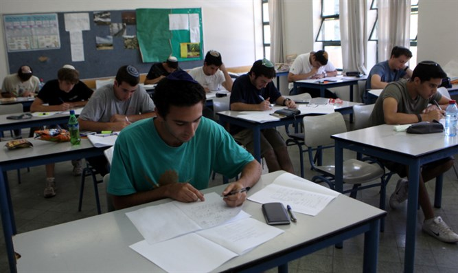 Students taking a matriculation exam (illustrative)