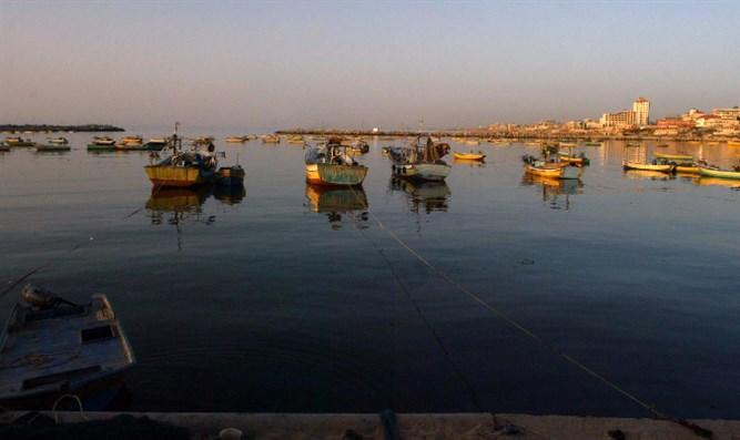 Fishing boats off the coast of Gaza