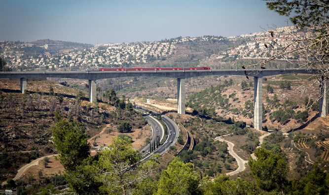 New Tel Aviv-Jerusalem fast train over haArazim valley just outside Jerusalem