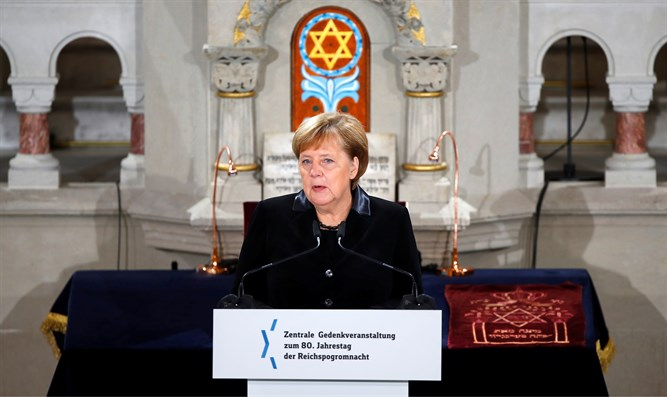Merkel at ceremony to mark the 80th anniversary of Kristallnacht
