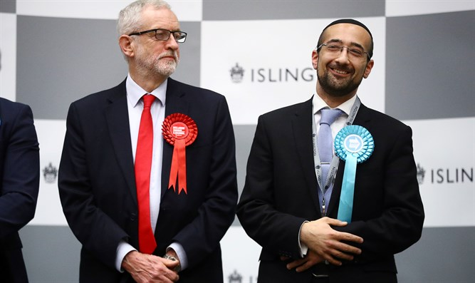 Jeremy Corbyn and Brexit Party candidate Yosef David