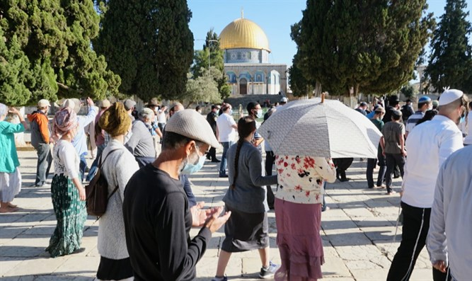Jews visit the Temple Mount this morning